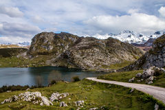 Lake Enol in Covadonga and Peaks of Europe Royalty Free Stock Photo