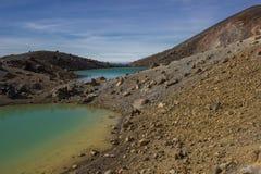 Lagos esmeralda de la travesía alpina de Tongariro Fotografía de archivo