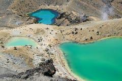 Lagos esmeralda en Tongariro, NZ Imagen de archivo libre de regalías