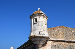 Lagos medieval tower. Medieval tower a the Fortaleza da Ponta da Bandeira at Lagos in Portugal Stock Photo