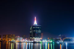 Lagos Night Lights. Popular building with lights in Lagos, Nigeria Royalty Free Stock Image