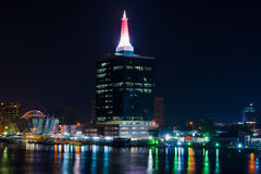 Lagos Night Lights. Popular building with lights in Lagos, Nigeria Stock Photos