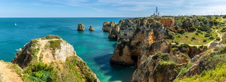 Cliffs view on Lagos, Algarve Stock Image