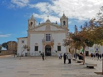 LAGOS, PORTUGAL - FEBRUARY 14, 2018: People on the plaza in fron Stock Image