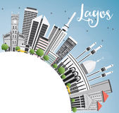 Lagos Skyline with Gray Buildings, Blue Sky and Copy Space. Royalty Free Stock Image