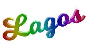 Lagos-Stadt-Name kalligraphisches 3D machte Text-Illustration gefärbt mit RGB-Regenbogen-Steigung Stockfoto