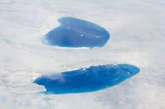 Lagos Supraglacial sobre la hoja de hielo groenlandesa Foto de archivo