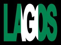 Lagos-Text mit nigerischer Markierungsfahne Lizenzfreie Stockfotos