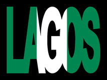 Lagos text with Nigerian flag Royalty Free Stock Photos