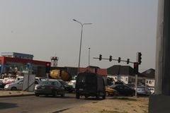 Lagos traffic lights- Epe expressway, Lagos Nigeria. 15TH December, 2018, Lagos Nigeria. Triffic Gridluck, regular traffic build-up during christmas festive stock photo