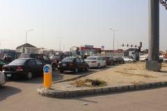 Lagos traffic signs- Epe expressway, Lagos Nigeria. 15TH December, 2018, Lagos Nigeria. Triffic Gridluck, regular traffic build-up during christmas festive royalty free stock image