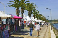 Lagoss, Portugal - Saturday market. LAGOS, PORTUGAL - MARCH 28: Regular Saturday market on the waterfront in Lagos, Portugal on March 28, 2015 Royalty Free Stock Photo