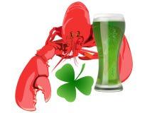Lagosta com cerveja verde Imagem de Stock Royalty Free
