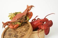 Lagosta e caranguejo asiático Imagem de Stock Royalty Free