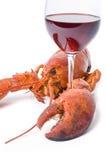 Lagosta e vinho Imagens de Stock Royalty Free