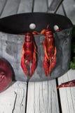 Lagostas cozinhadas vermelho no fundo de madeira Lagostins fervidos woden o fundo Estilo rústico imagens de stock royalty free