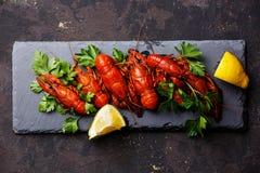 Lagostas fervidas vermelho com limão fotografia de stock royalty free