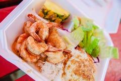 Lagostim e arroz do camarão de Havaí fotografia de stock royalty free