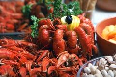 Lagostins cancer Caranguejos cozinhados para o alimento imagens de stock royalty free