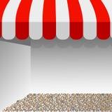 Lagra den randiga markisen illustration av den röda och vita tältvektororienteringen med utrymme för din text vektor illustrationer