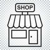 Lagra vektorsymbolen Shoppa byggandeillustrationen Affärsidésim royaltyfri illustrationer