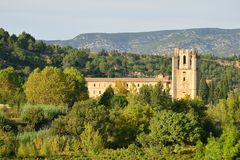 Lagrasse Abbey in southern France Stock Photos