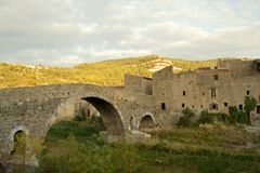 Lagrasse nel Languedoc Fotografia Stock
