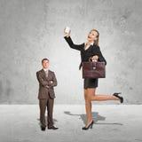 Lagre ung affärskvinna och småföretagare Arkivfoton