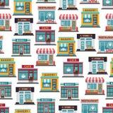 Lagret beklär den sömlösa modellen - kafét, restaurangen, marknad royaltyfri illustrationer
