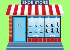 Lagret för skon för kvinna` s, shoppar fönstret royaltyfri illustrationer