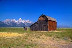 Lagret för T A Den Moulton ladugården är en historisk ladugård i Wyoming, eniga Sta royaltyfri bild
