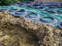 Lagring för ensilagehavremajs i en mejerilantgård Arkivfoton