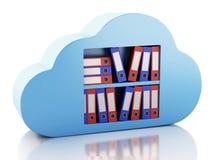 lagring för mapp 3d i moln cloud meddelande resurser för begreppet för datoren beräknande lokaliserade bärbar dator Arkivbild