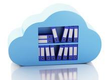 lagring för mapp 3d i moln cloud meddelande resurser för begreppet för datoren beräknande lokaliserade bärbar dator Arkivbilder