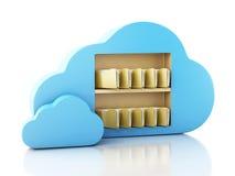 lagring för mapp 3d i moln cloud meddelande resurser för begreppet för datoren beräknande lokaliserade bärbar dator Royaltyfri Bild