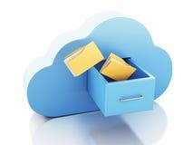 lagring för mapp 3d i moln cloud meddelande resurser för begreppet för datoren beräknande lokaliserade bärbar dator Arkivfoton