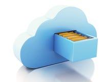lagring för mapp 3d i moln cloud meddelande resurser för begreppet för datoren beräknande lokaliserade bärbar dator Royaltyfria Bilder