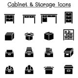 Lagring kabinett, enhetssymboler royaltyfri illustrationer
