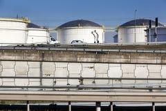 Lagringsbehållare och infrastruktur i Nederländerna Arkivbilder