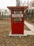Lagringskabinetter för brandsläckare Arkivbild