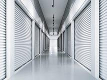 Lagringslättheter med vita dörrar framförande 3d royaltyfri bild