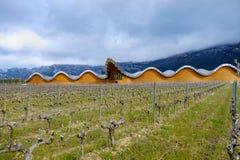 Laguardia, Alava, Spagna 30 marzo 2018: La vista della facciata delle cantine del premio di Rioja ha chiamato Ysios con le sue vi Immagine Stock Libera da Diritti