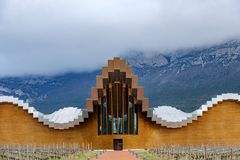 Laguardia, Alava, Spain. March 30, 2018: Detail of the entrance to the wine cellars of Rioja premium called Ysios, work of the Spa. Nish architect Calatrava stock image