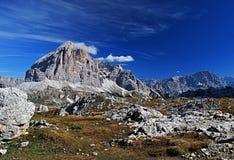 Laguazoi Piccolo, Laguazoi Grande, Cima Falzarego and Col de Bos peaks Royalty Free Stock Photos