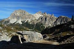 Laguazoi Piccolo, Laguazoi Grande, Cima Falzarego and Col de Bos peaks Royalty Free Stock Photo
