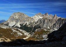 Laguazoi Piccolo, Laguazoi Grande, Cima Falzarego and Col de Bos peaks Stock Photo