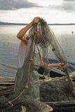 Lagun för fiskarefartygsolnedgång Arkivfoton