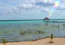Lagun för sjö för ferie för tid för strandBacalar Mexico sommar Fotografering för Bildbyråer