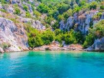Lagun i den sjunkna staden av Kekova Royaltyfria Bilder