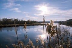 Laguna alatardecer Arkivfoton